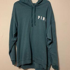 Victoria's Secret PINK Teal boyfriend hoodie EUC